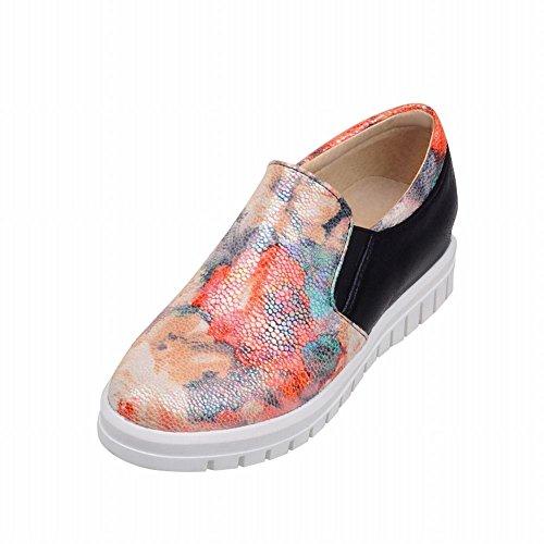 Carolbar Imprimé Floral Brillant Couleurs Assorties Mode Élégance Confort Décontracté Chaussures Chaussures Noir