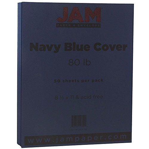 "JAM Paper Premium Paper Cardstock - 8.5"" x 11"" - 80 lb Navy Blue Cover - 50/pack"