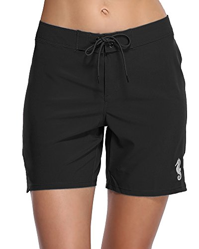 Sociala Women's Solid Board Shorts Workout Shorts Swim Bottom Trunks Boardshorts L