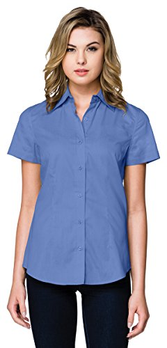 Womens Short Sleeve Button Front (Tri-Mountain WL700SS Womens 3.8 Oz Short Sleeve Woven Shirt - French Blue - L)
