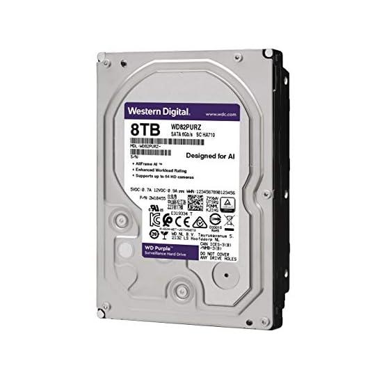 """WD Purple 8TB Surveillance Internal Hard Drive - 7200 RPM Class, SATA 6 GB/S, 256 MB Cache, 3.5"""" - WD82PURZ 41yd6FDFdyL. SS555"""