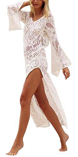 de Vestido Vestido Irregular Maxi de Playa Largo Encaje Blanco Mujer WFnw5Yq0xn