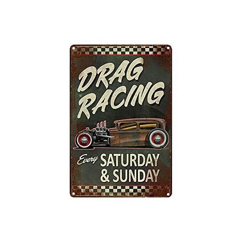Nawilbi Metal Tin Sign Drag Racing Poster Decor Bar Pub Home Vintage Retro (12X8, Racing)