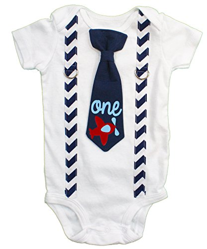 Cuddle Sleep Dream Baby Boy 1st Birthday Outfit Cake Smash Bodysuit with Tie and Suspenders Birthday Shirt (12 Month, -