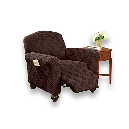 Diamond Furniture Collections - Collections Etc Double Diamond Form Fit Stretch Furniture Slipcover, Chocolate, Jumbo Recliner