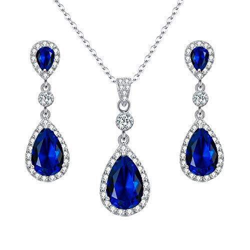 EleQueen 925 Sterling Silver Full Cubic Zirconia Teardrop Bridal Pendant Necklace Dangle Earrings Set Sapphire Color