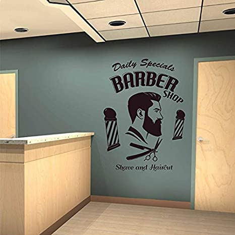 Barbería Logo Wall Art Decal Afeitado y Corte de Pelo ...