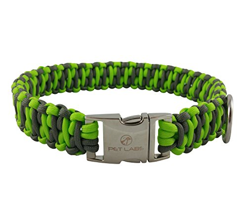 Pet Labs Paracord Dog Collar Flourescent Green and Dark Grey with Buckle (19.29in / 49cm) ()
