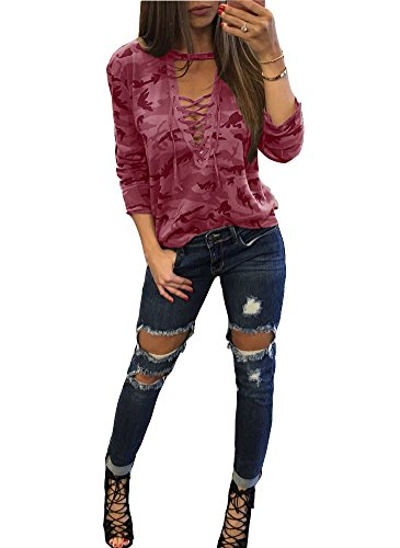 Tops XXL Deep S Sexy Shirt Rouge Chemisier norme Longue Manche Blouse Femmes Shirts vider Dames V Camouflage Chemises xHqgUp1Y