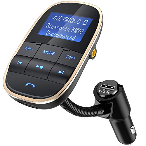 Nulaxy Bluetooth FM Transmitter Wireless in-Car Radio Adapter Voltmeter Handsfree Car Kit TF Card AUX USB 1.44 Display Sleep Play Mode - KM20 Golden