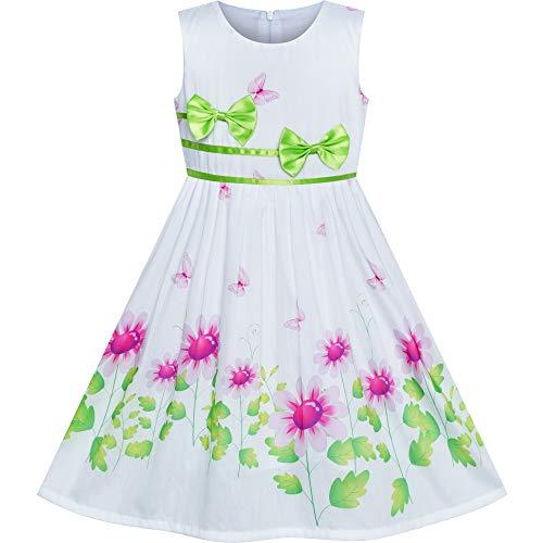 Green Girl Dresses (Girls Dress Flower Green Bow Tie Summer Sundress Size)