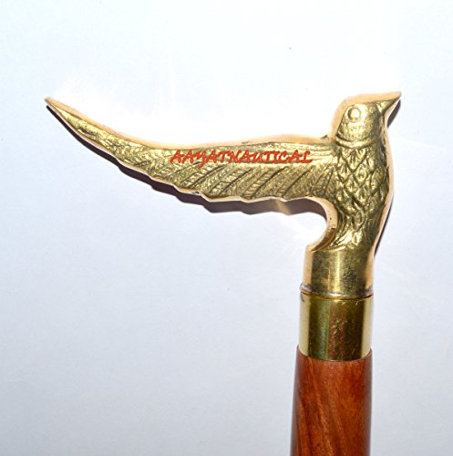 Pipe Wooden Old Carved (CARVED FALCON EAGLE HEAD BRASS PIPE WOODEN WALKING STICK CANE HANDLE)