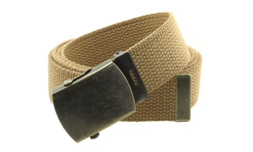 [Canvas Web Belt Military Style with Antique Brass Buckle and Tip 50