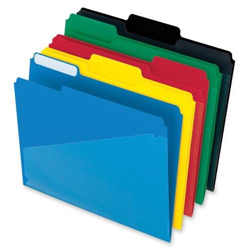 Esselte Coloured Pocket - Pendaflex Hot Pocket Poly File Folders, 1/3 Cut, Top Tab, Assorted Colors, 25 per Box (515)