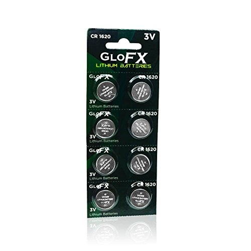 GloFX CR1620 Battery - 8 Pack - Lithium Button Coin Cell Batteries - 3V 3 Volt - remote watch jewelry led key fob replacement 1620 CR Pack Set Bulk (Cr1620 Lithium Coin Cell Batteries)