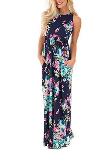 Hikare Womens Casual Sleeveless Boho Floral Print Evening Party Floor Length Long Maxi Dress Blue Large