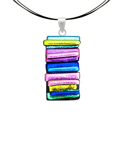 Dichroic Glass Pendant - Sterling Silver Dichroic Glass Layered Pendant with 18