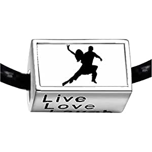 Chicforest Silver Plated Dance themes Tango Dancer Bead charm Photo Live Love Laugh Charm Beads Fits Pandora Charm