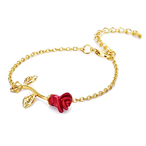 Vintage Flower Chain 3d Pink Necklace Gold Pendant 14 Carat Lovers Anniversary of Friendship Gift Jewelry Handmade Jewelry ()