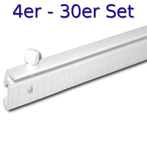 4 Stück Paneelwagen 80 cm Breite ( wahlweise auch 57 cm und 60 cm erhältlich ) - Mengenstaffel 2 - 30 Stück - für Schienensysteme - Flächenvorhangschiene - Flächenvorhang - Schiebevorhang (04er Set = 4 Paneelwagen, 80 cm breit - weiss)
