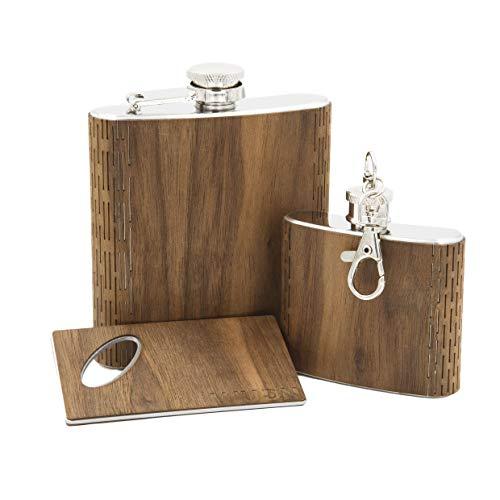 3-Piece Wooden Bar Set - 6 oz Hip Flask, 2 oz Keychain Flask & Credit Card Bottle Opener in Black Walnut