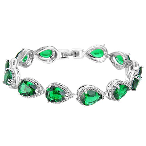EVER-FAITH-Silver-Tone-Emerald-Color-May-Birthstone-Prong-Zircon-Tennis-Bracelet