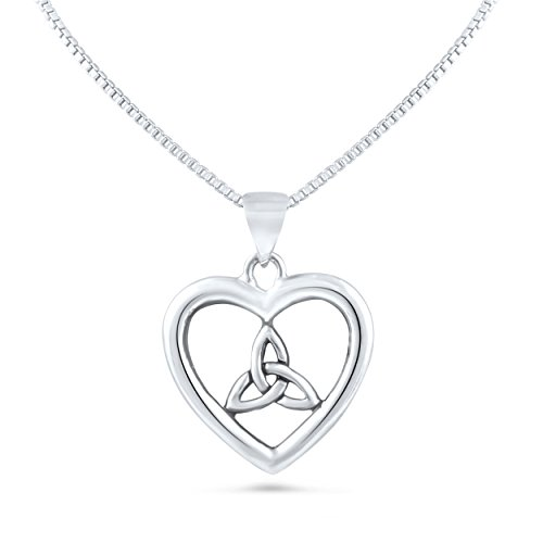 Sterling Silver Celtic Knot Triquetra Heart Necklace