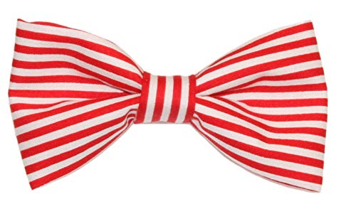 Men's Red/White Stripes Clip On Cotton Bow Tie Striped Bowtie by amy2004marie ()