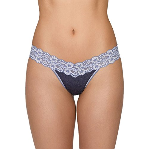 Hanky Panky Women's Heather Jersey Low Rise Thong, Chambray/White, One Size