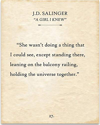 She Wasnt Doing A Thing - J.D. Salinger - 11x14 Unframed Typography Book Page Print - Great Gift Under $15 for Book Lovers