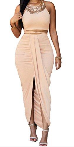 Christmas DH-MS Dress Women's Khaki Faux Suede Two Piece Maxi Skirt Set