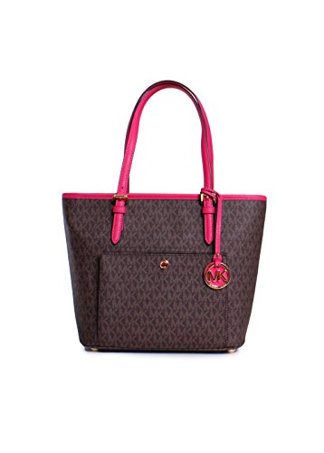 MICHAEL MICHAEL KORS Jet Set Travel Medium Canvas & Leather Tote, Brown/Ultra - Michael Pink Kors