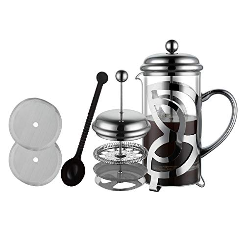 Miuly French Press Coffee Maker,304 Grade Stainless Steel & Heat Resistant Borosilicate Glass, (1 Liter,34OZ), Gift Set…