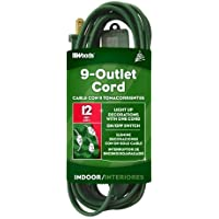 Woods 32189 15-Foot 9-Outlet Indoor Extension Cord, Green by Woods