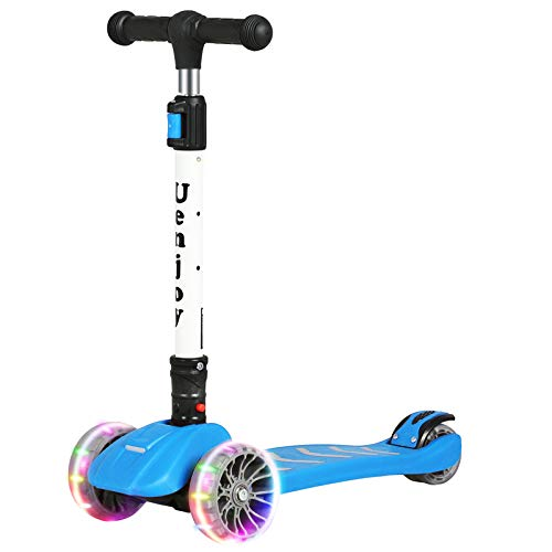 Uenjoy Kick Scooter - Patinete de 3 ruedas para niños y niñas, altura ajustable, ruedas LED con luz PU, capacidad de peso 176 libras, plegable y fácil de transportar, apto para niños de 3 a 12 años, azul