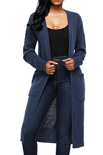 Long Sweater Cardigans Prime Work Clothing Ladies Maxi Sweaters Cardigans Plus Size Blue XL (Knee Length Sweater)