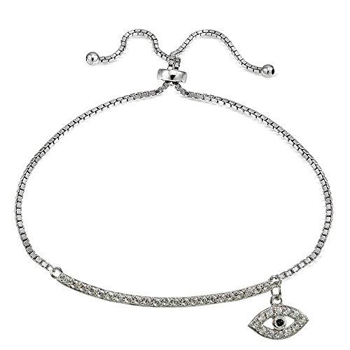 Sterling Silver Blue Cubic Zirconia Dangling Evil Eye Bar Adjustable (Dangling Silver Bracelet)