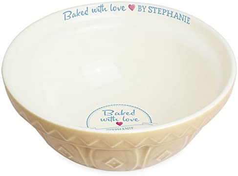 Personalised Sketch Heart Tan Mixing Bowl Baking Gifts