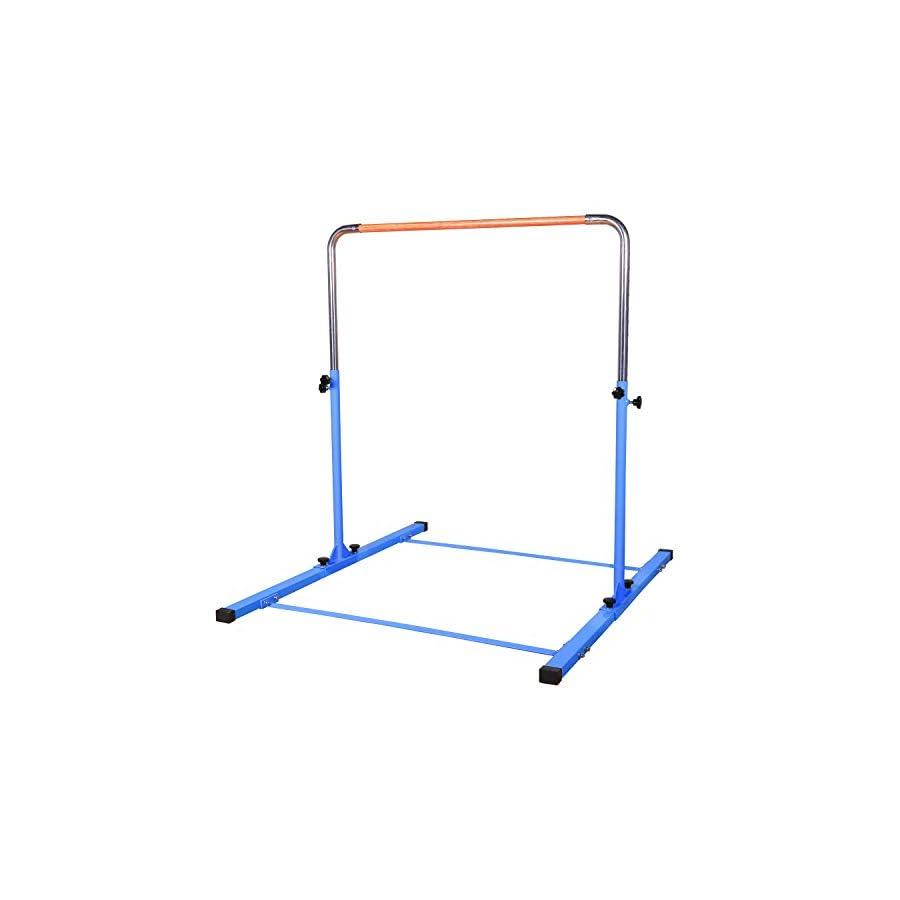 TJ Fitness Gymnastics Training Bar Height Adjustable 3' to 5' Horizontal Kip Bar for Kids