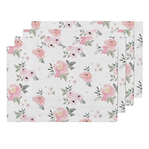 Blush 4pc Eco Canvas Cloth Placemat Set - Baby Girl Floral Cottage Chic Cotton Nursery Decor Blush Roses Watercolor Pink Flowers Shabby by Shopcabin (Set of 4) 13 x ()