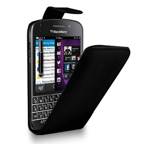 GBOS BLACKBERRY Q5 BLACK LEATHER FLIP CASE COVER POUCH + FREE SCREEN PROTECTOR & RETRACTABLE TOUCH STYLUS PEN