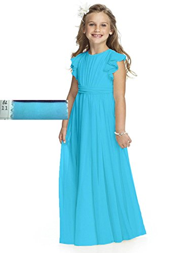 Abaowedding Fancy Chiffon Flower Girl Dresses Flutter Sleeves First Communion Dress(Size 12,Sky Blue) -