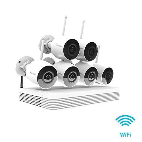 less Security Camera System Wi-Fi, 6X 2MP Wireless Wi-Fi Indoor Outdoor IP Cameras, IR LED Night Vision, 500ft Wi-Fi Range, Mobile Alerts, Audio Recording, CCTV Surveillance ()