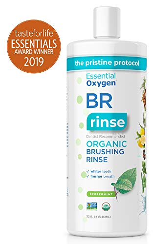 Essential Oxygen BR Certified Organic Brushing Rinse, All Natural Mouthwash for Whiter Teeth, Fresher Breath, and Happier Gums, Alcohol-Free Oral Care, Peppermint, Refill, 32 Ounce (Brushing Teeth With Mouthwash Instead Of Toothpaste)