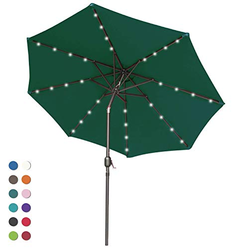 (ABCCANOPY Solar Umbrellas Patio Umbrella 9 FT LED Umbrellas 32LED Lights with Tilt and Crank Outdoor Umbrella Table Umbrellas for Garden, Deck, Backyard, Pool and Beach,12+Colors, (Forest Green-1))