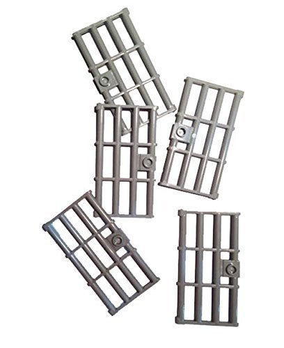 (Lego Light Bluish Gray Door 1 x 4 x 6 Barred with Stud Handle, 5 Count)