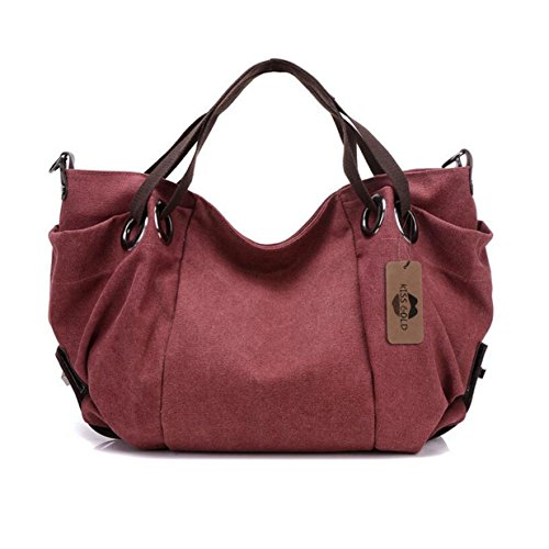 KISS GOLD(TM) Women's Canvas Hobo Top-handle Bag Crossbody Shoulder Bag, European Style, Large Size 16X6.8X12, Burgundy