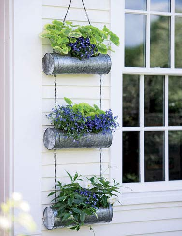 Galvanized Hanging Triple Planter