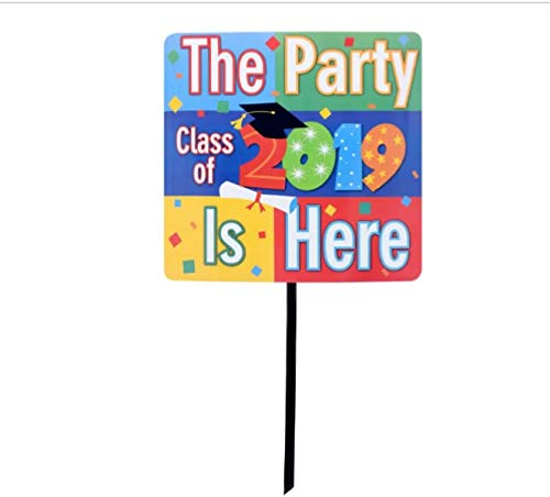 BCL The Party is HERE - Party Supplies Welcome Grad Decorations Decoration Class of 2019 Graduation Party Supply Signs Welcome Yard Sign Stake 15 in.]()