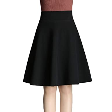 NIAIS Falda De Lana para Mujer A-Line Vintage Winter Lana Falda ...